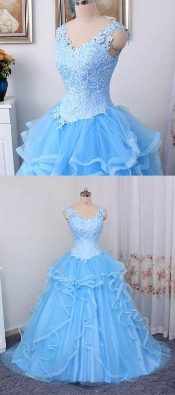 Gorgeous Blue Sweet 16 Dress 2019, Ball Gown Blue prom ...