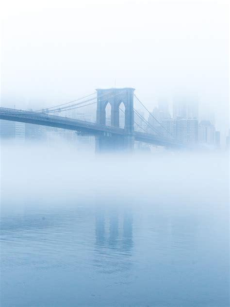 soft blue fog circling bridge light blue