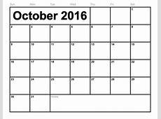 October 2016 Printable calendar Printable Calendar Templates