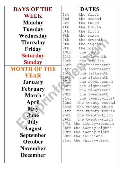 day month date esl worksheet  ghoksana