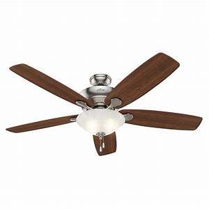 Hunter regalia in brushed nickel downrod or close mount indoor ceiling fan with light