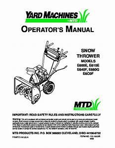 Mtd Yard Machines E600e E610e E640f E660g E6c0f Snow