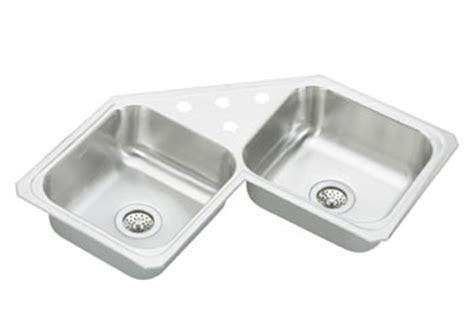 elkay ccr   gourmet celebrity double bowl stainless steel corner sink  holes