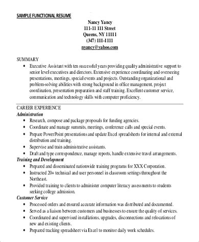 Exle Of Customer Service Resume by 9 Functional Resume Exles Templates