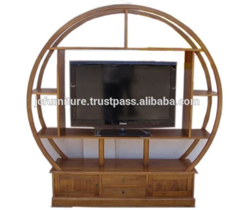 solid teak wood circular tv stand  quality furniture