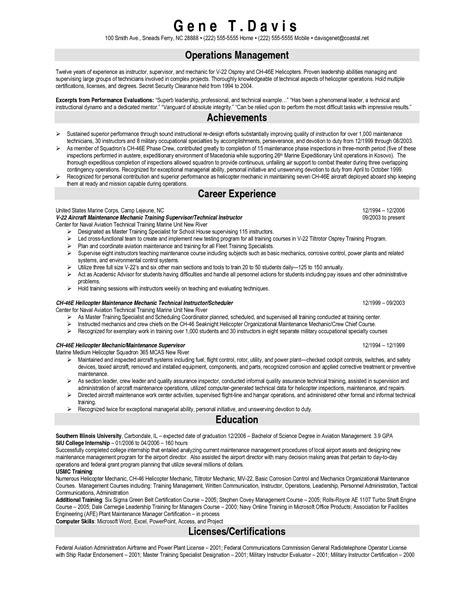 Aircraft Maintenance Engineer Resume Sle by Aviation Structural Mechanic Resume Sales Mechanic Lewesmr