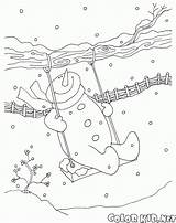 Coloring Snowman Swing Pages Snowmen Colorkid Christmas sketch template