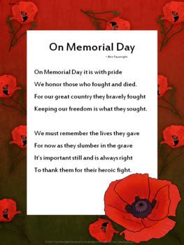 memorial day reading passage  poem  ann fausnight tpt