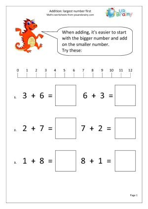 addition largest number  addition maths worksheets