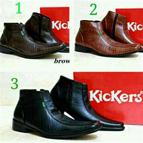 sepatu kickers pantofel cowok boot murah kulit asli zipper slop boots slip on pantopel casual