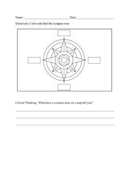 compass rose worksheet by jennifer yunes teachers pay teachers
