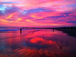 Pink Beach Sunset For Desktop Background 13 High ...