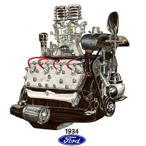 cool drawing flathead  automotive art engineering