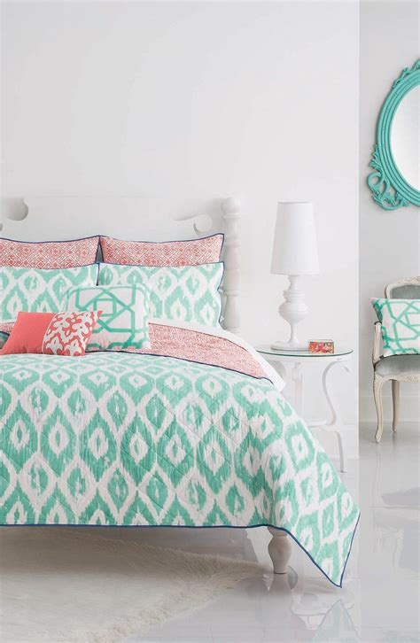 loving  turquoise  coral bedding paired