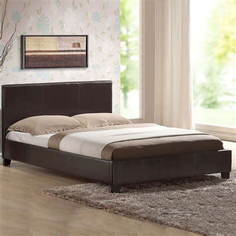 LEATHER BEDDOUBLE KINGBLACKBROWNWHITE With MEMORY FOAM