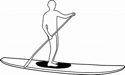Paddle Stand Clipart Silhouette Paddleboard Surf Vector