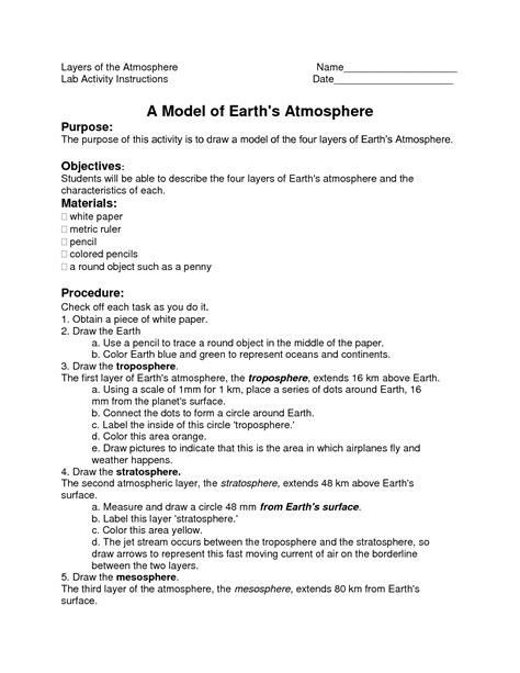 13 Best Images Of Atmosphere Worksheets For Middle Schoolers  Earth Atmosphere Layers Worksheet
