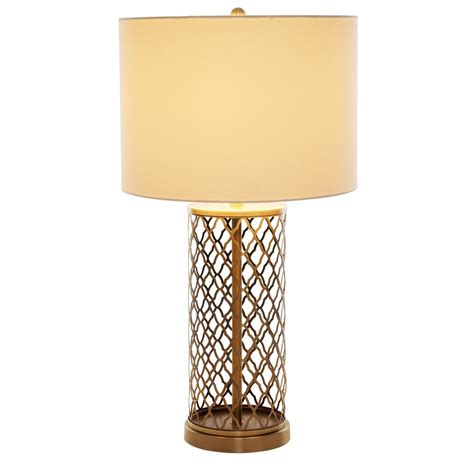 laser cut l shade alsy 26 in antique brass laser cut table l with white