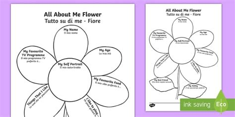 all about me template all about me flower writing template italian