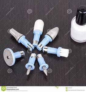 Pedicure And Manicure Tools On Black Table Stock Photo ...