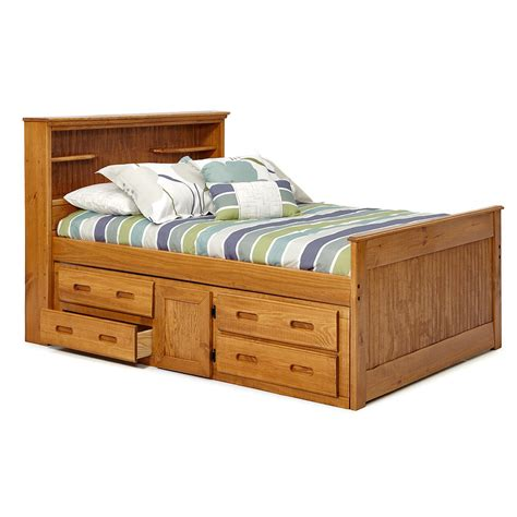 35707 size bed frame with storage woodcrest heartland sized bookcase captains bed with