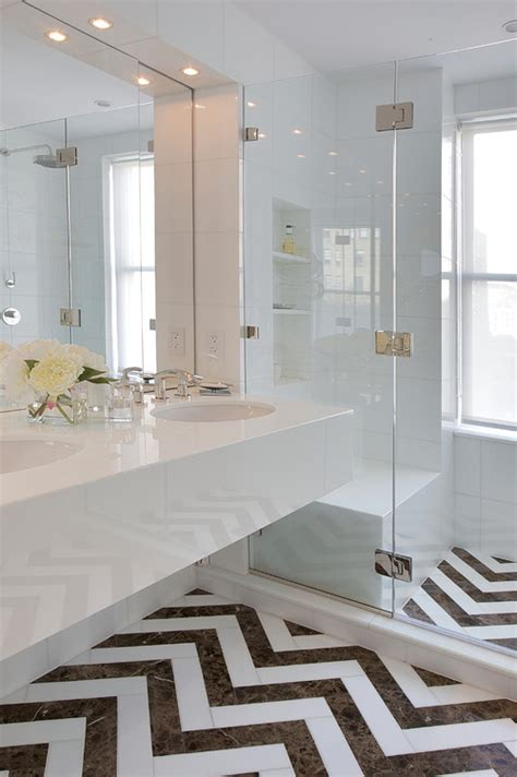 chevron bathroom tiles