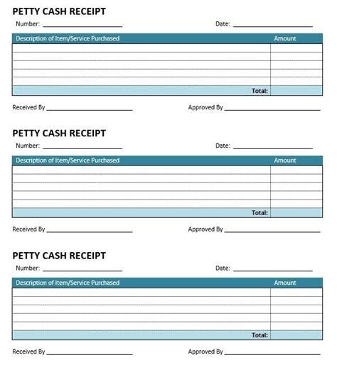 sample petty cash receipt templates printable samples