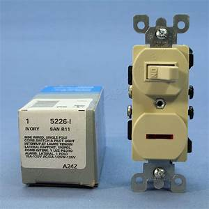 Leviton Ivory Commercial Toggle Wall Switch 15a W  Pilot