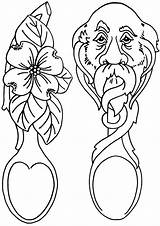 Coloring Pages Wooden Spoon Spoons Coloringway sketch template