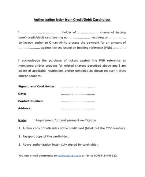 sample credit card authorization letter  documents