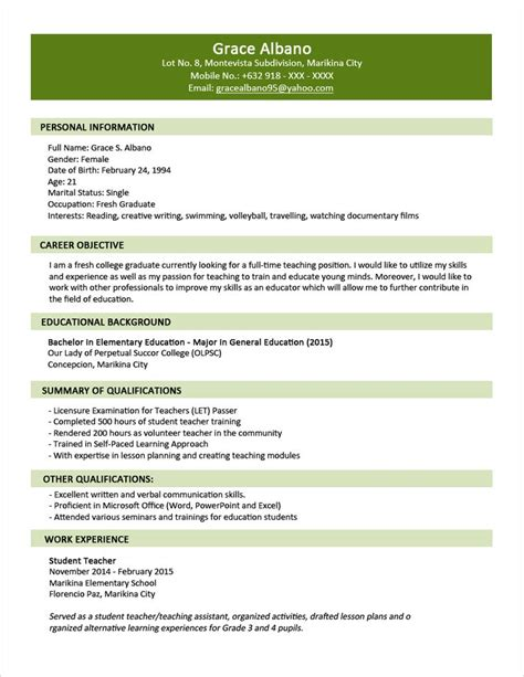 sample resume format  fresh graduates  page format