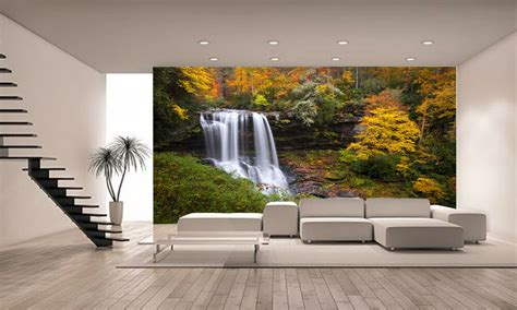 photo wallpaper forest waterfall giant wall decor paper