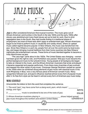 history of jazz worksheet education com
