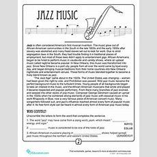 History Of Jazz  Worksheet Educationcom