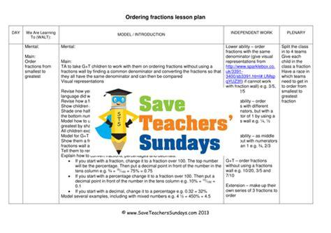 ordering fractions ks2 worksheets lesson plans