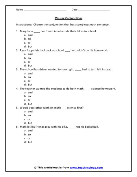 conjunction worksheet 6 problems with answer key tws