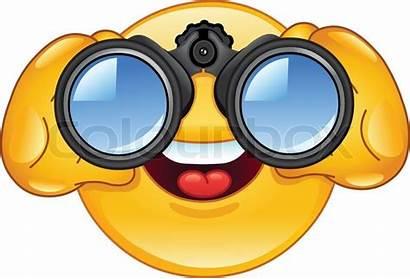 Fernglas Emoticon Emoji Looking Kikkert Binocolo Smiley