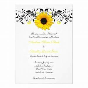 sunflower black white floral wedding invitation 5quot x 7 With black and white sunflower wedding invitations