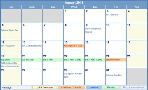 august  calendar template  printable sample