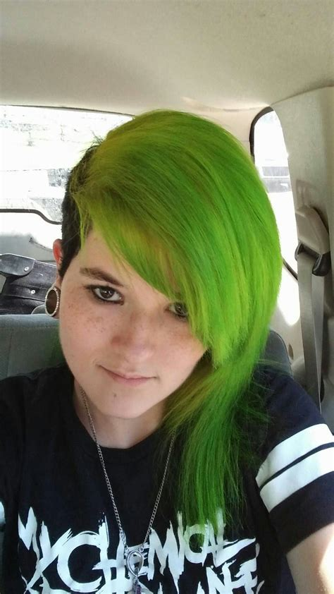 Green Hair With Black Half Shave Shaved Hair Green