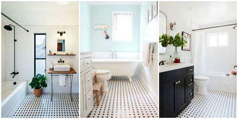 classic black  white tiled bathroom floors  making
