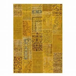 tapis de salon patchwork jaune en laine et coton par angelo With tapis de salon en laine