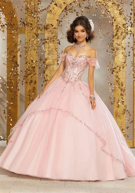 allover beaded bodice   tulle ball gown style