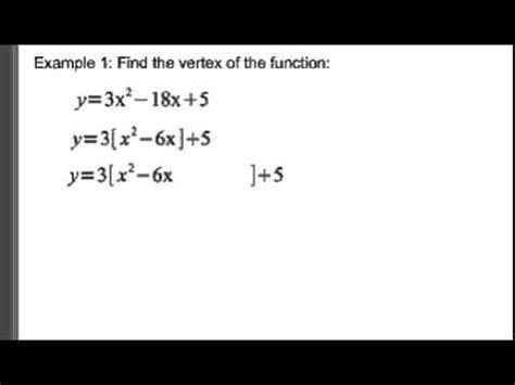 standard form to vertex form youtube