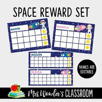 space reward punch cards sticker reward charts