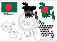 Bangladesh Contour Maps, National Flag And Asia Map