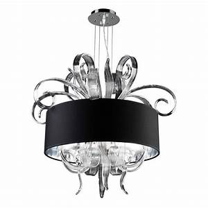 Plc lighting light polished chrome chandelier with black