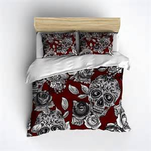 sugar skull bedding red mega print with large detailed skull and rose print sugar skull