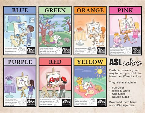color sign language asl colors chart and flash cards teach your child the