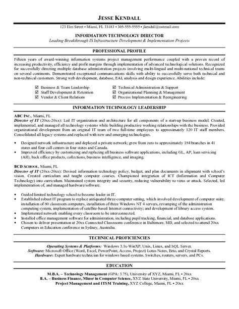 Technical Proficiencies Resume by Information Technology Resume Template Resume Exle For A Governmentlaw Position Technology